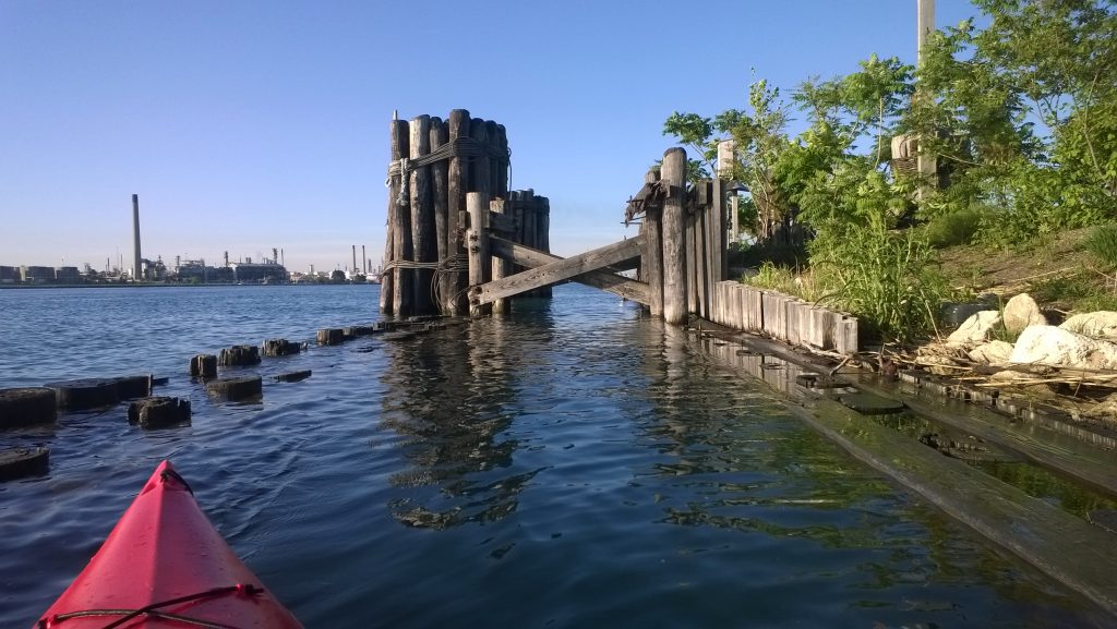 Remnants of a train ferry dock, St. Clair River, Port Huron, Mich.